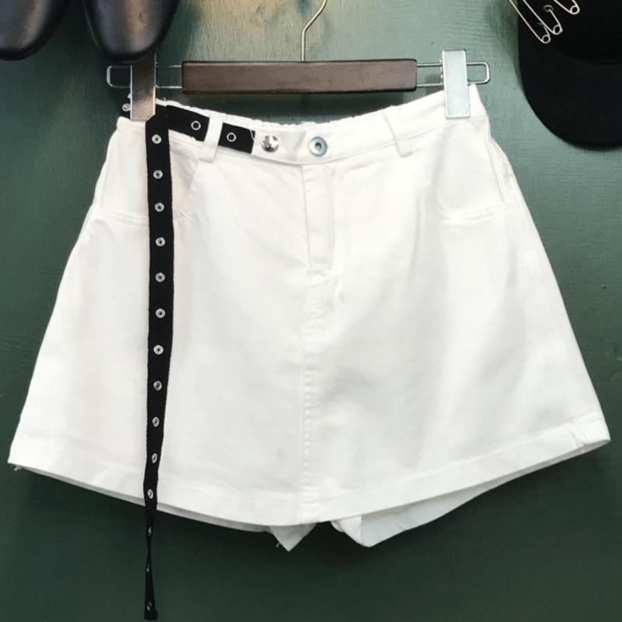 2019 summer new fashion jeans shorts women elastic high waist white denim shorts skirts