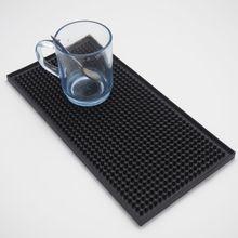 1 Stücke 11,8 inch Rechteck Gummi Bier Bar Überlaufmatte für tabelle 30 cm schwarz wasserdicht pvc matte küche glasuntersetzer tischset