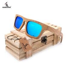 BOBO VOGEL männer Luxusmarke Bambus Hölzerne Sonnenbrille Platz Handgemachte Polarisierte Grüne Beschichtung Spiegel Brillen in Holzkiste