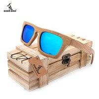 BOBO BIRD Men S Luxury Brand Bamboo Wooden Sunglasses Square Handmade Polarized Green Coating Mirror Eyewear