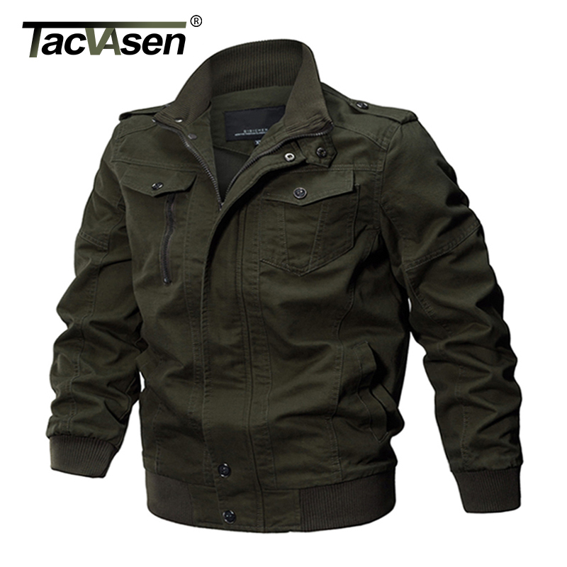 TACVASEN Military Jacket Men Winter Cotton Jacket Coat Army Men's Pilot Jacket Air Force Autumn Casual Cargo Jaqueta TD-QZQQ-009(China)