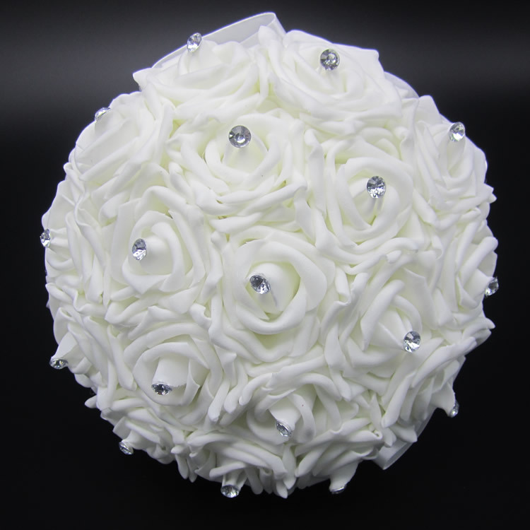 Lovely white wedding bouquet bridal bridesmaid brooch bouquet artificial rose flower bouquet - Flowers good luck bridal bouquet ...