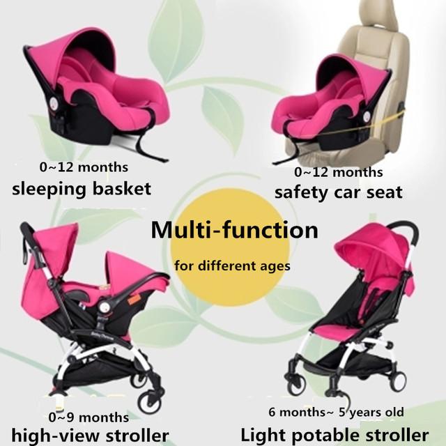 Más Cuarto de Asiento de Coche, 5.8 kg Luz, suspensión, de Múltiples funciones, portátil, bidireccional, Cochecito de Bebé plegable, sentarse o acostarse