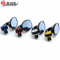 for Pair Motorcycle Side Mirrors Universal 7/8 22mm Handlebar Bar End Mirror Black Rear View Rearview Mirrors for Sport Bike AT
