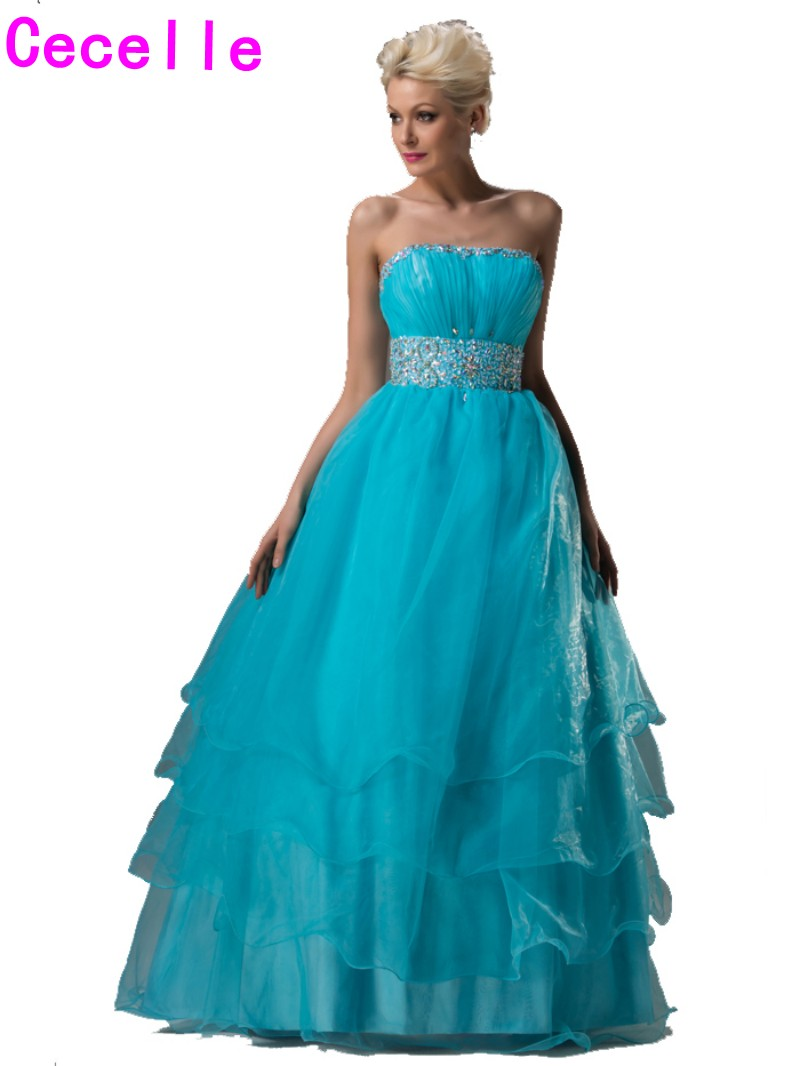 Turquoise Ball Gown Long Organza Prom Dresses Strapless Beaded ...