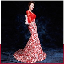 Oriental Bride's wedding dress women toast banquet 2017 new style fish tail Cheongsam Annual meeting Chinese style host Costume