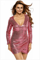 2018 high quality sexy women summer party club dress on sale bling us long sleeve silver Ruched Sequin Dress