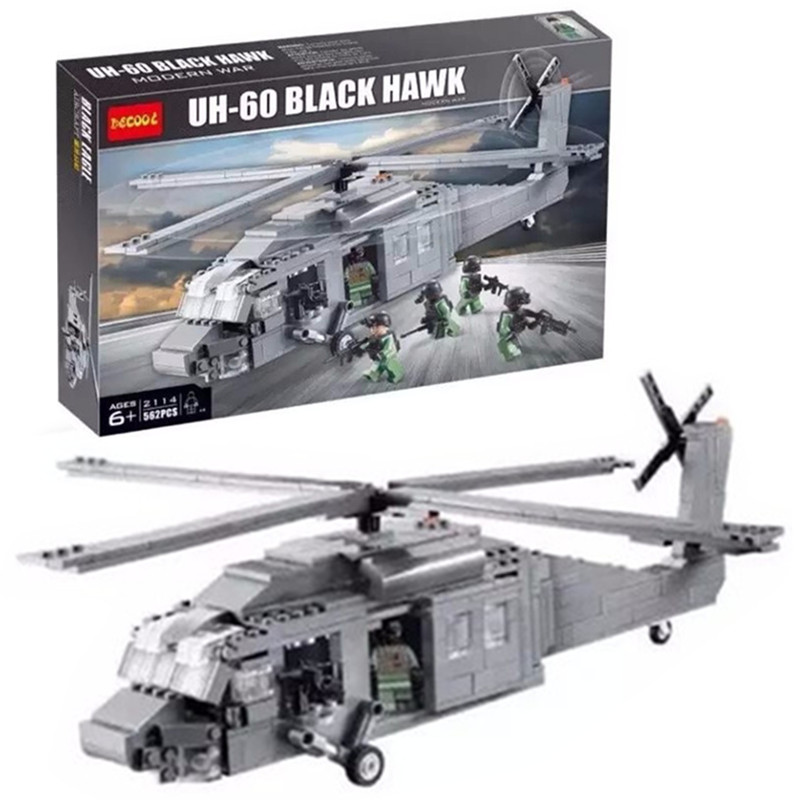 562Pcs Decool 2114 BuildingBlocks Military UH-60 BLACK HAWK Plane Airplane Helicopter Bricks Blocks Children Toys decool 2114 building blocks military uh 60 black hawk plane airplane helicopter bricks blocks children toys compatible with lego