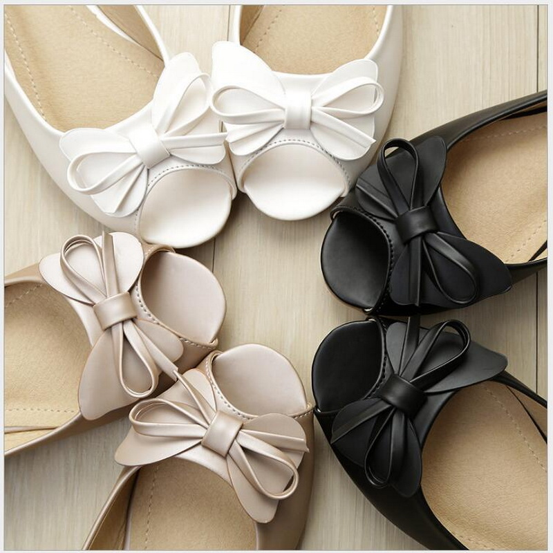 Ladies Sandals 2018 New Style Flat Bottom Fish Mouth Bow Knot Comfortable Anti Slip Soft Sole Shoes Casual women flat shoes