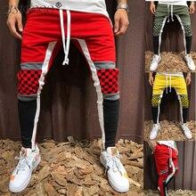 Мужские повседневные брюки мужские тонкие узкие брюки в клетку хип-хоп фитнес строгие брюки хлопковые брюки для ног