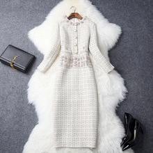 Ladies dress fashion temperament retro tweed round neck luxury diamonds slim mid-length elegant autumn and winter new