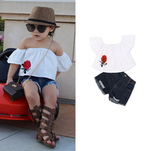 New Girls Clothes Sets 2018 Summer Children Clothing Off Shoulder T-shirt+Denim Shorts 2pcs Girls Outfits Suit 1 2 3 4 5 6 Years clothing sets children baby 2pcs clothes girls summer t shirts dress 2pcs girls clothes for age 2 3 4 5 6 years kids sport suit