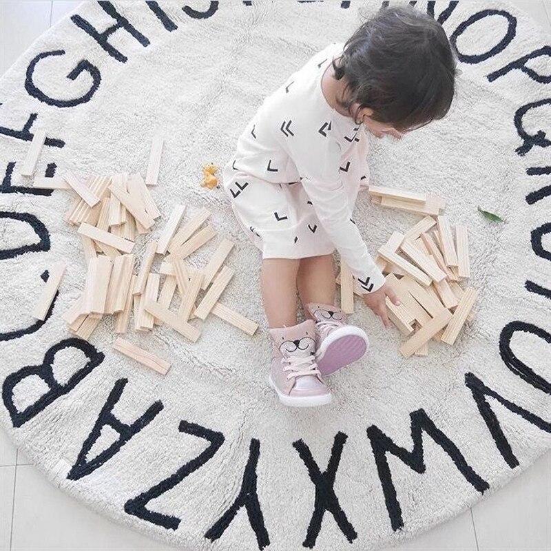 120 cm tapis de jeu bébé rond enfants ramper tapis tapis de sol bébé jeux activité tapis tapis avec lettres jouets pour enfants décor de chambre