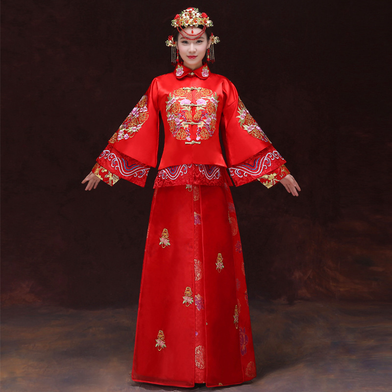 Broderie Phoenix mariage Cheongsam rouge traditionnel chinois Robe mariée se marier Qipao Dragon Costume Oriental robes Robe