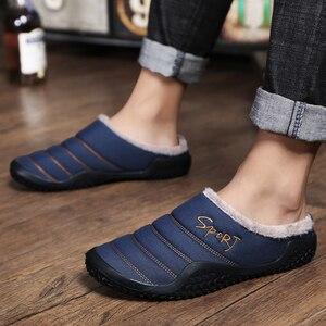 Image 5 - 2020 Schoenen Mannen Winter Slippers Warme Waterdichte Canvas Schoenen Met Bont Plus Size 39 48 Buiten Slippers Casual Rubber antislip