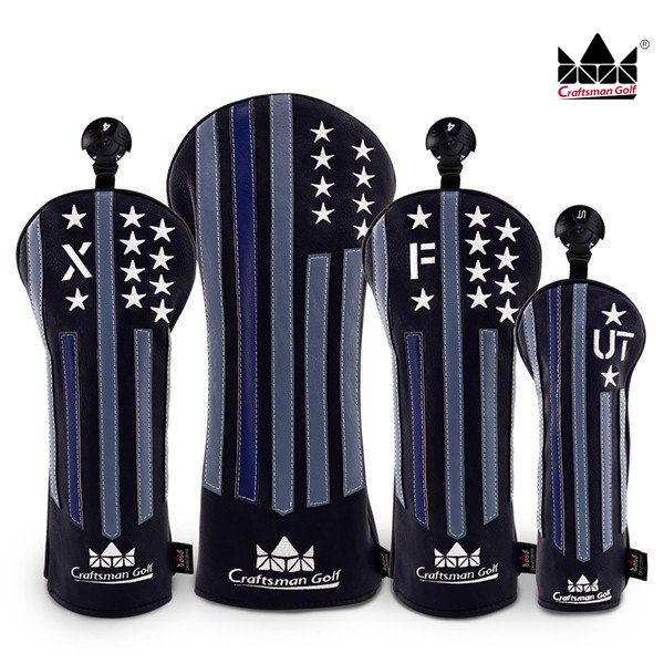 Craftsman Golf Wood Headcover Set Driver Fairway Hybrid USA Black & Star Stripe Retro Club Head Wood Covers