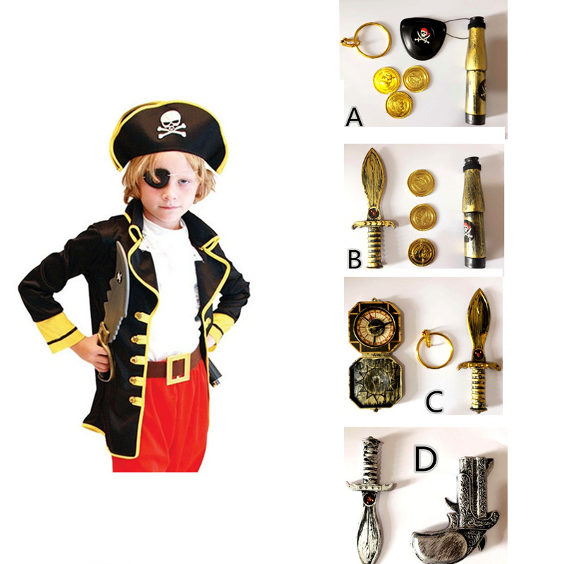 Birthday Gift Kids Boys Pirate Costumes Cosplay Set For Children Birthday Party Performance Clothes(no Weapons)