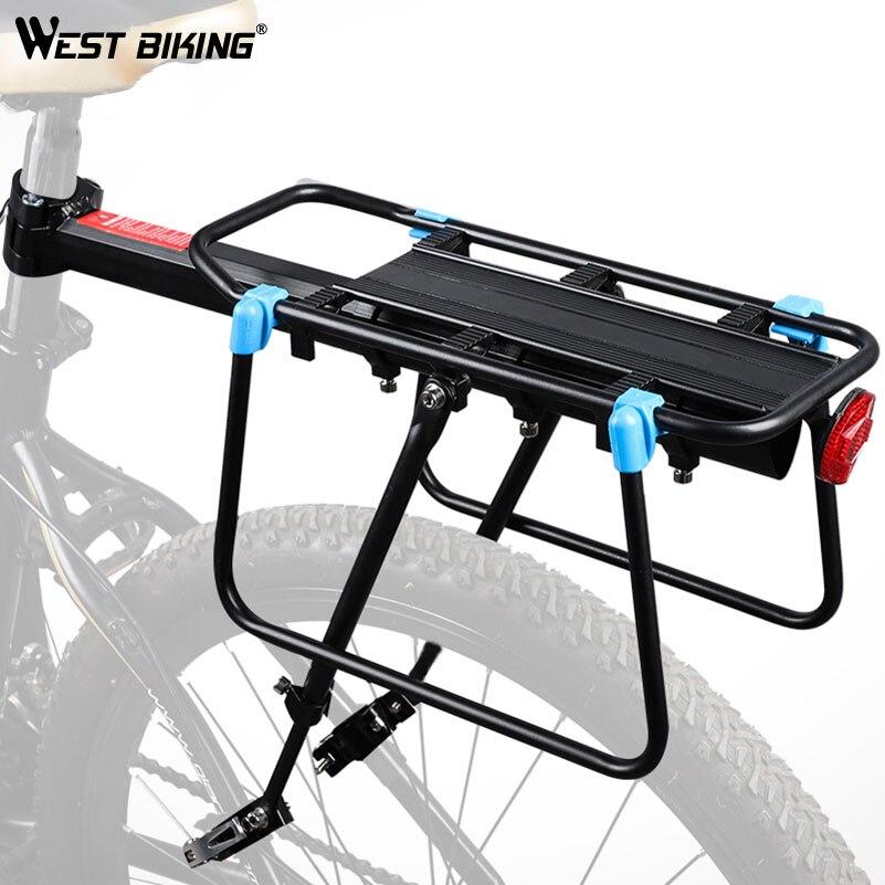 WEST BIKE 50 kg Capacità Bici Rastrelliere Ciclismo Carrier Deposito Cargo Posteriore Scaffale In Lega di Alluminio MTB Bike Borse Holder Rastrelliera per biciclette
