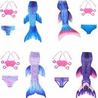 3Pcs 2017 New Kids Girls Mermaid Tail Swimmable Bikini Fancy Dress Swimwear Swim Costume Children Swimmable