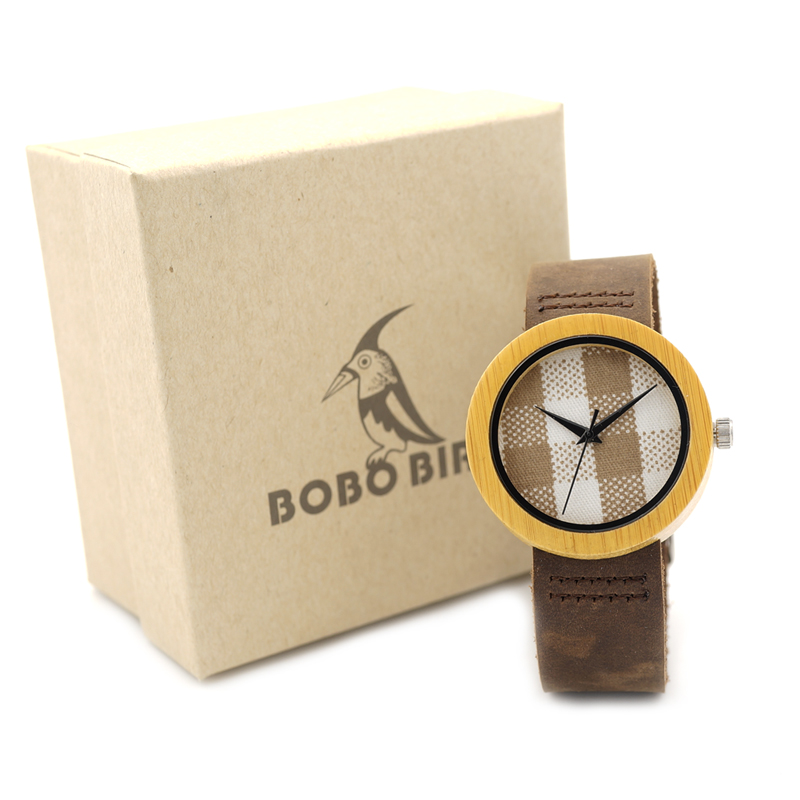 BOBO BIRD D18 Yellow Bamboo Watch for Women Japan Quartz Watches Soft Leather Band Cloth Dial Face Casual WristWatch as Gift OEM цена