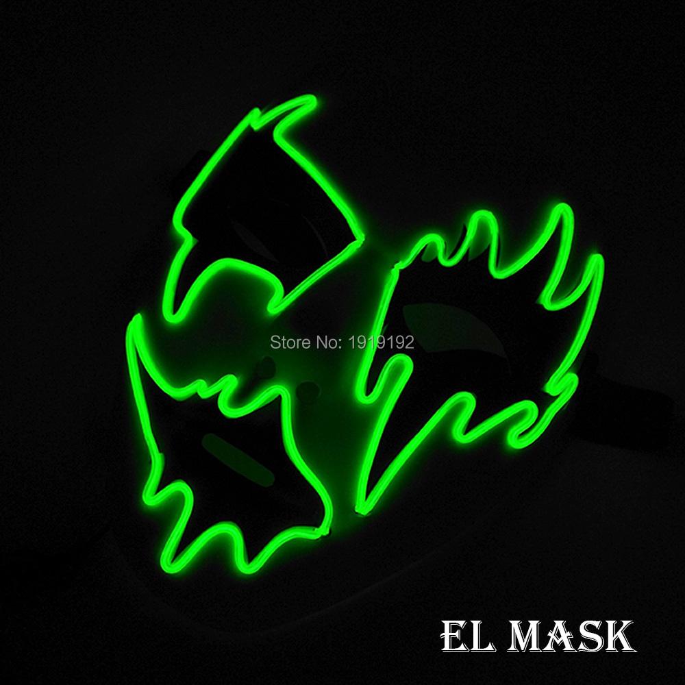 New Glowing EL mask Plastic ghost mask Halloween Party Supplies 10 Color Available Steady on LED Mask For Wedding Decoration