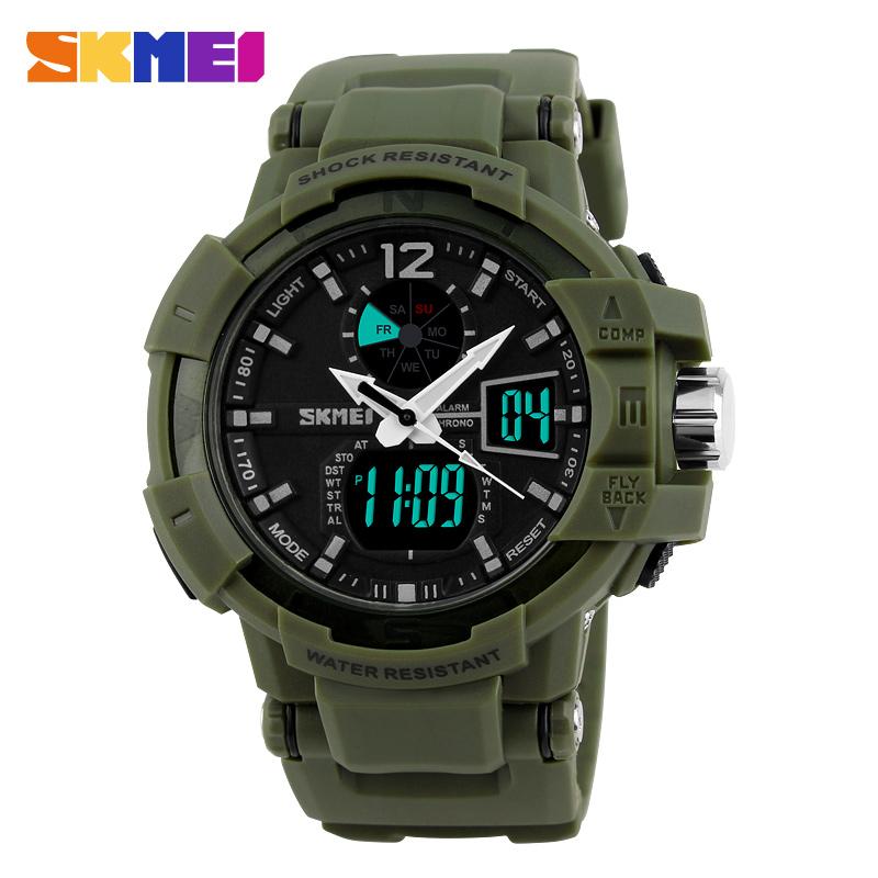 Prix pour Mode en plein air hommes militaire montres skmei marque led sport montre numérique quartz multifonction étanche robe montres