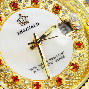Image 4 - Original New 2020 REGINALD Quartz Watch Men 18k Yellow Gold Fluted Bezel Pearl Diamond Dial Full Stainless Steel Luminous Clock