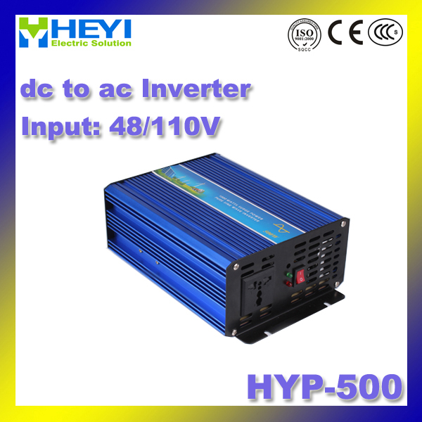 dc to ac inverter HYP-500 Input: 48V/110V power inverter 500W 50/60Hz 20%~90%RH micro inverter Efficiency: > 90% 48v 110v hyp 6000 50 60hz dc to ac power inverter soft start power inverter low work noise sine wave inverter