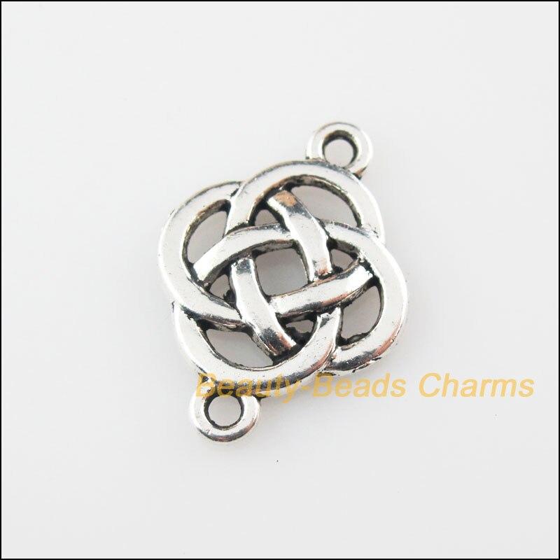 8Pcs Tibetan Silver Tone Chinese Knot Charms Pendants Connectors 18x25mm