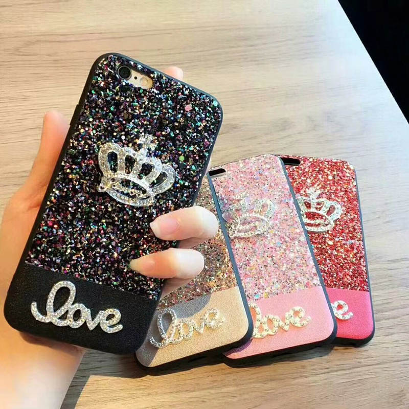 Phone Luxury Crown Silicon Bling Glitter Crystal Sequins Soft TPU Back Cover Case Fundas for iPhone Phone 6 6s 7 8 Plus X 10