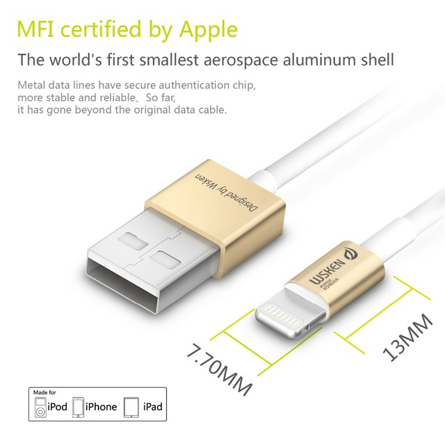 WSKEN MFI Certified USB Cable for iPhone 7 7Plus 6 6S Plus 5 5S SE for Lightning Cable Aluminum Data Line for iPad iPodtouch