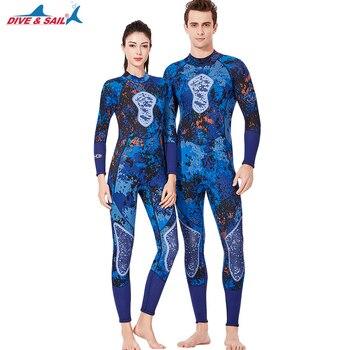 Womens Mens Full Wetsuit Long Sleeve 3MM Neoprene Back Zip Winter Spring Swimwear Scuba Diving Snorkeling Surfing Suit Swimwear