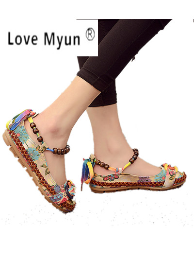 Plus size42 Beiläufige Flache Schuhe Frauen Wohnungen Handgefertigten Glasperlen Ankle Straps Müßiggänger Zapatos Mujer Retro Ethnischen Bestickte Schuhe