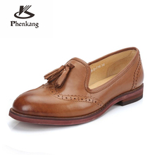 100% Genuine sheepskin leather brogues yinzo lady flats tassel shoes handmade vintage oxford shoes for women red brown blue 2018 genuine leather designer brogues vintage yinzo flats shoes handmade oxford shoes for women 2018 spring red brown beige