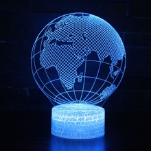 3D Visual Effect World Map Shape Globe LED Night Light USB 7 Colors Changeable For Decoration Ball Atmosphere DIY lamp
