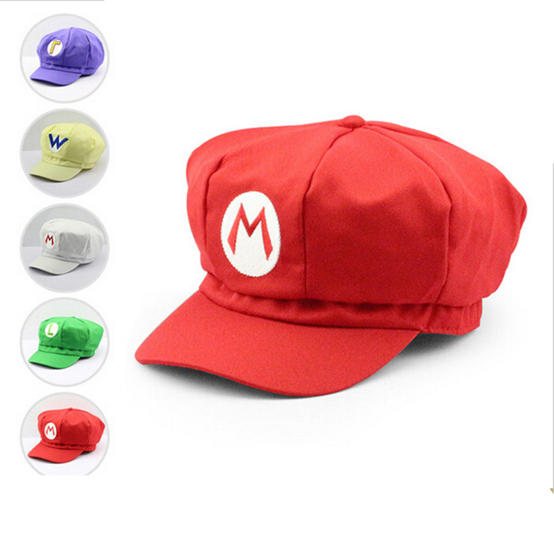 Super Mario Plush Toys Cotton Caps Mario Luigi Wario Waluigi Cosplay Hat Red White Purple Yellow Green Colors Holloween Gift new super mario cotton caps red hat mario and luigi cap 5 colors anime cosplay costume halloween buckle hats adult hats caps