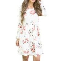 Zrujnuje Eleganckie Kwiatowe Kwiat Drukuj Casual Women Suknie Kobiet Tunika Z Długim Rękawem Luźne Wiosna Jesień Party Skater Dress