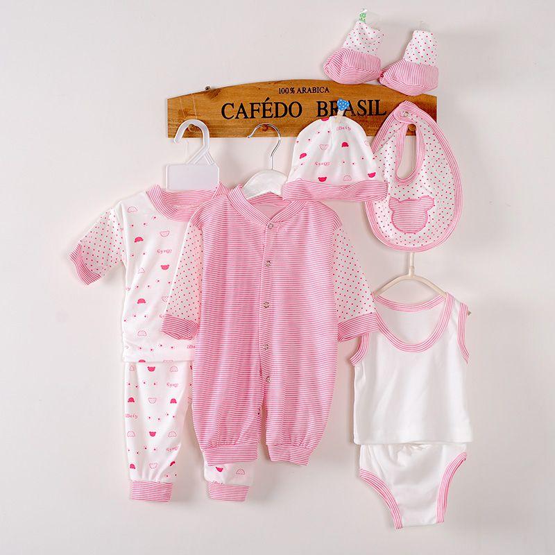 Newborn Baby Clothing 8pcs Set Boys Girls Cotton Polka Dot Clothes