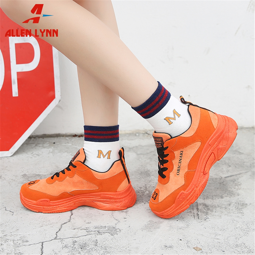 ALLENLYNN New INS Hot Brand Bright Colors Girl Platform Sneakers Women 2019 Autumn Fashion Dad Shoes Woman Flats