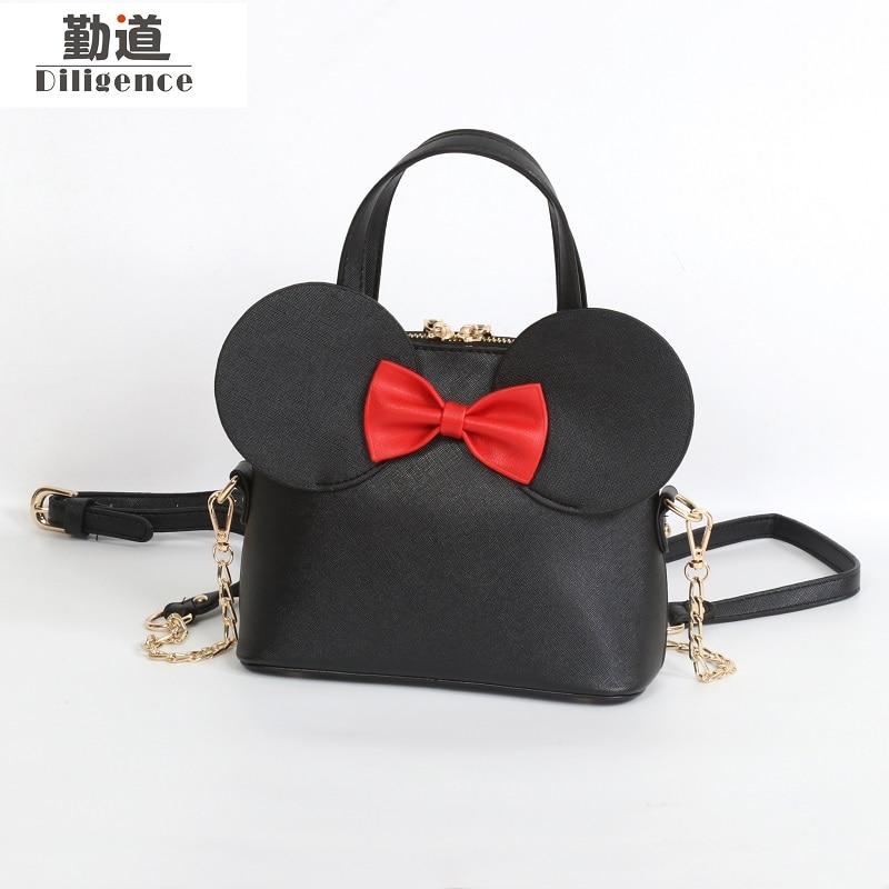 Mode Handtaschen Pu-leder Frauen Umhängetasche Mickey Ohren Shell Süßen Bogen Ketten Crossbody Weibliche Mini Kleine Umhängetasche