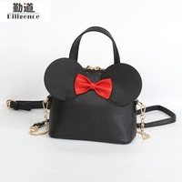 Fashion New Handbags High Quality PU Leather Women Bag Mickey Big Ear Shell Sweet Bow Chain