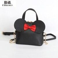 Fashion New Handbags High Quality PU Leather Women Bag Mickey Big Ear Shell Sweet Bow Chain