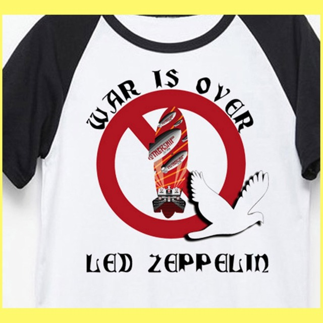 Led Zeppelin war is over old fashion psychedelic rock t shirt men women size