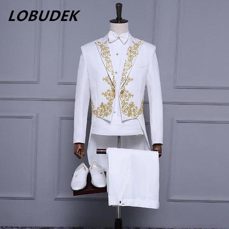 (Veste + pantalon) nouveau costume masculin broderie smoking veste de tailleur blazer ensemble chanteur équipe costumes magicien hôte mince scène porter