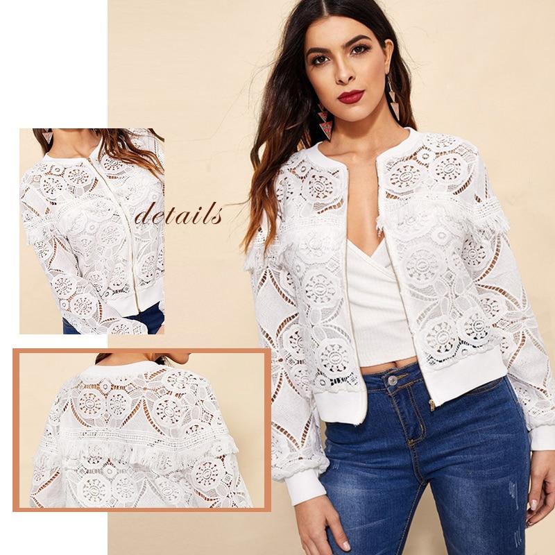 Sheinside White Elegant Hollowed Out Lace Jacket Women 19 Back Frayed Edge Detail Jackets Ladies Fringe Zip-up Lace Outwear 10