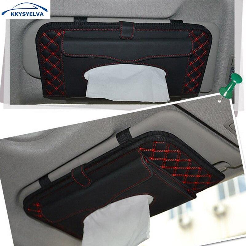 KKYSYELVA Leather Sun Visor Storage Bag Car Auto CD Receive Bag DVD Disk Card Visor Case Folder Pocket Car Interior Accessories