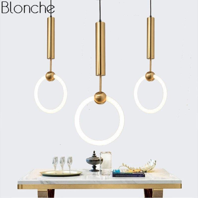 Lee Broom Ring Gold Pendant Lights Modern Led T6 Circle Hanging Lamp For Home Loft Decor Living Room Light Fixtures Luminaire