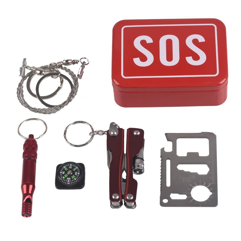 Outdoor equipment emergency bag field survival kit box self-help box SOS equipment for Camping Hiking saw whistle compass tools