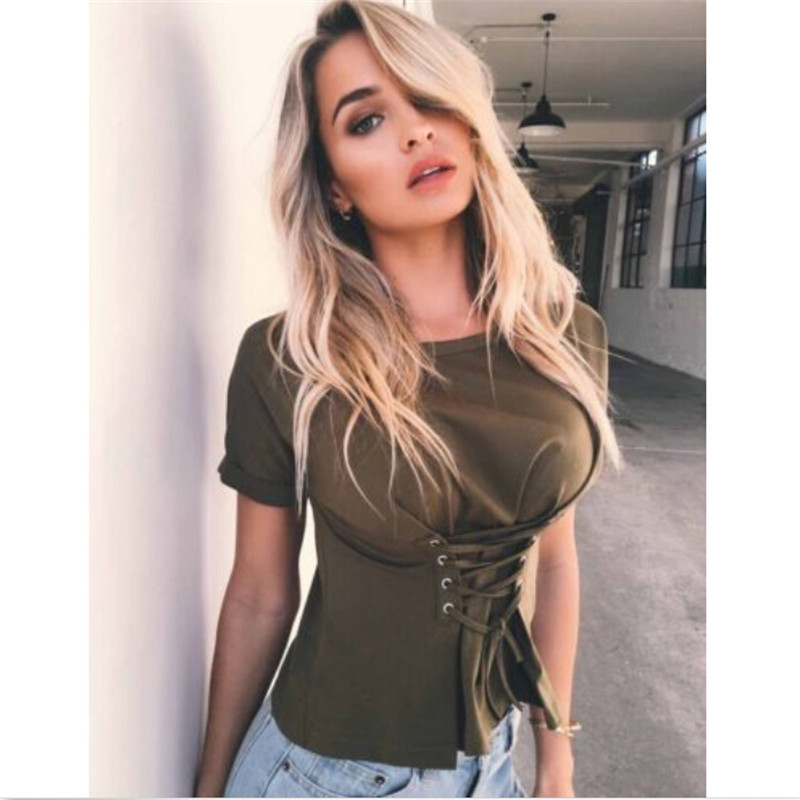 Corset Bandage T-shirt New Design Womens Ladies Casual Tops Short Sleeve O-neck T-Shirt Summer Style Women Clothes Hotwon Blusas
