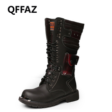QFFAZ Men Motorcycle Boots knee high boots Winter Cow Split Leather Waterproof Buckle Military Boots Men Shoes Big Size 45